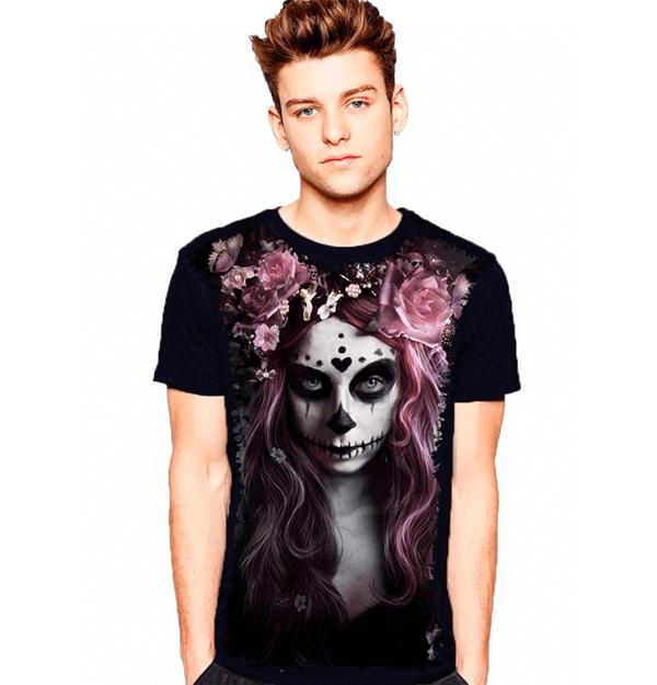 Camiseta Skull Caveira Fashion Mulher