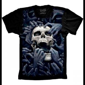 Camiseta Skull Caveira Mãos Hands