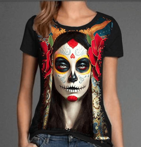 Camiseta Skull Caveira Mexicana Mulher