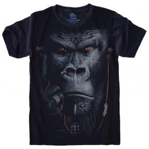 Camiseta Gorila Fone de Ouvido Primata