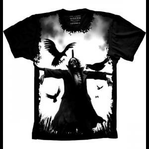 Camiseta Skull Caveira Espantalho e Corvos