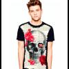 Camiseta Skull Caveira Rosas Vermelhas