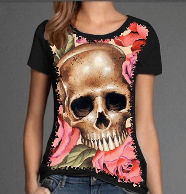 Camiseta Skull Rosas