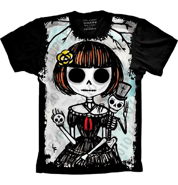 Camiseta Skull Caveira Desenho