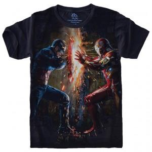 Camiseta Homem de Ferro x Capitão América Guerra Civil