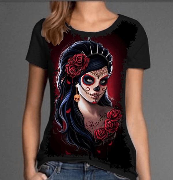 Camiseta Skull Caveira Mexicana Tatoo