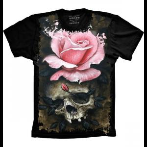 Camiseta Skull Caveira Flor Rose