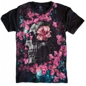 Camiseta Skull Roses Caveira