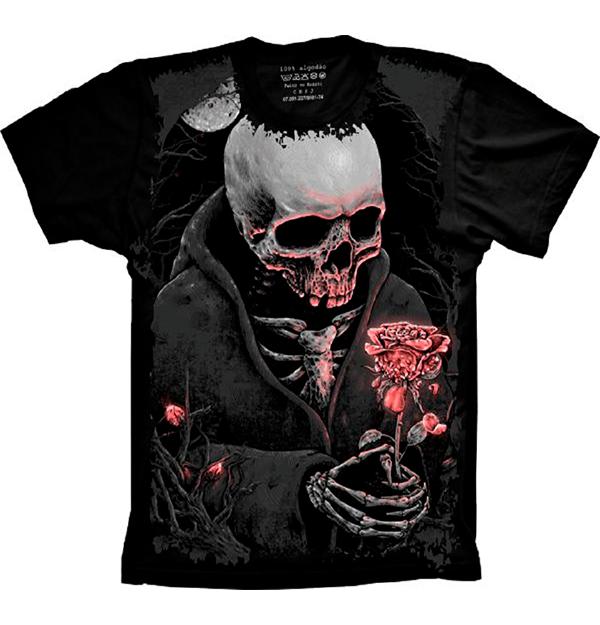 Camiseta Skull Caveira Com Rosa
